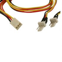 Dynamode 3 Pin Fan Power Splitter Cable 1 x Female To 2 x Male 40cms